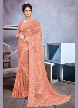 Net Peach Stone Work Classic Saree