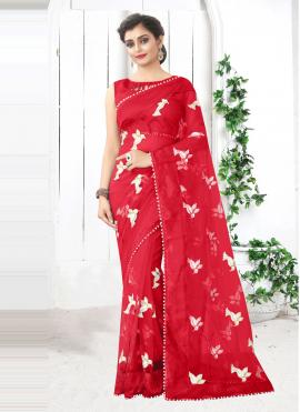 Net Printed Saree in Red