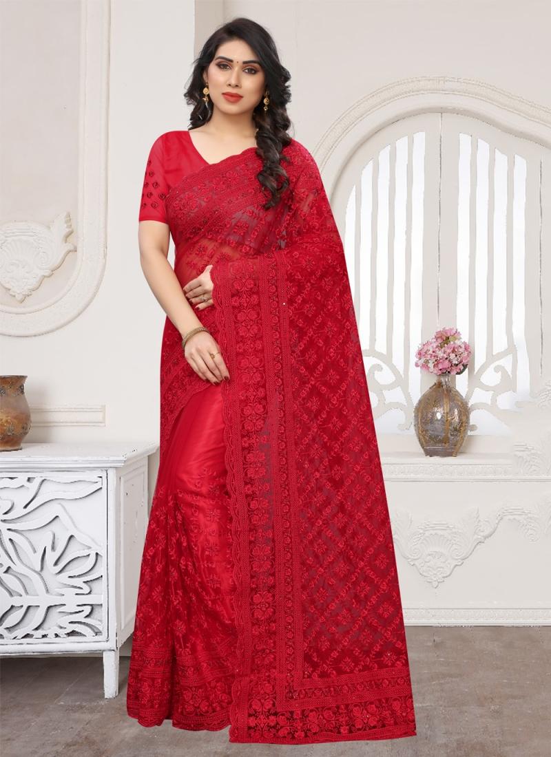 Net Resham Designer Saree in Red