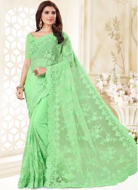 Net Resham Designer Traditional Saree in Green