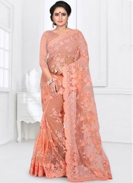 Net Resham Peach Classic Saree