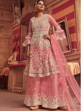 Net Resham Pink Designer Pakistani Suit
