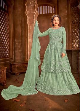 Net Sea Green Embroidered Long Choli Lehenga