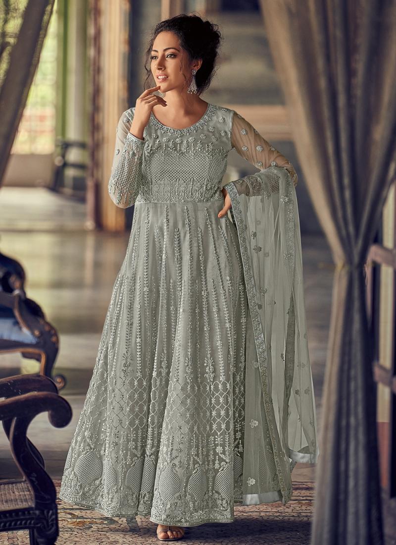 Net Sea Green Fancy Floor Length Anarkali Suit
