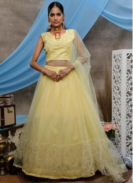 Net Sequins Bollywood Lehenga Choli in Yellow