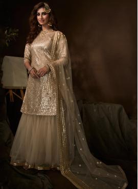 Net Sequins Cream Designer Salwar Suit