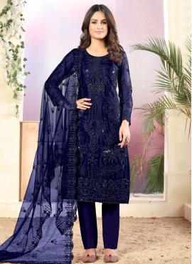 Net Sequins Salwar Suit in Navy Blue