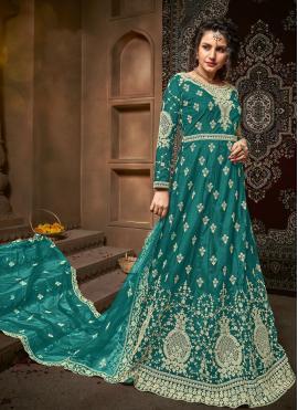 Net Teal Embroidered Anarkali Salwar Suit