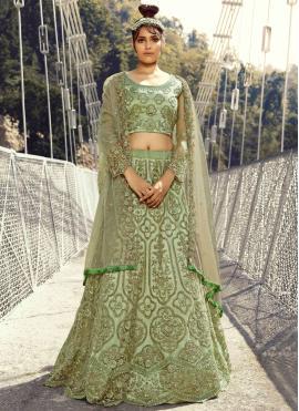 Net Thread Green Lehenga Choli