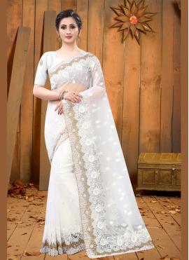 Net White Embroidered Designer Saree