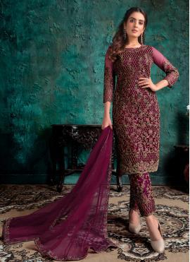 Net Wine Embroidered Designer Pakistani Suit