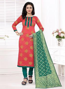 Noble Banarasi Silk Weaving Churidar Designer Suit
