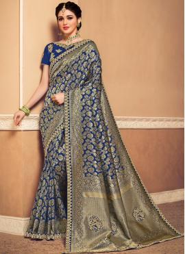 Noble Navy Blue Weaving Designer Saree