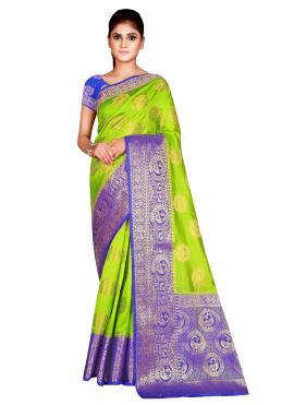 Noble Nylon Weaving Green Traditional Saree