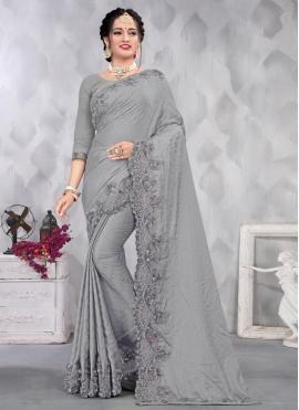 Noble Satin Grey Sequins Designer Saree