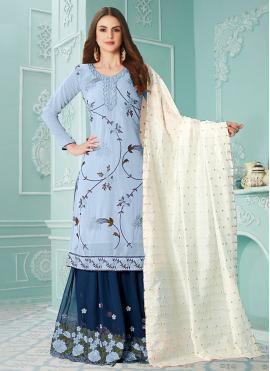 Observable Blue Designer Palazzo Suit