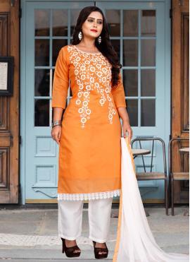 Observable Chanderi Cotton Orange Trendy Salwar Suit