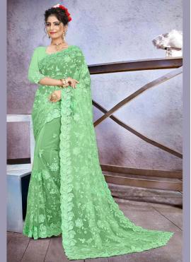 Observable Green Party Classic Designer Saree