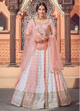 Off White and Pink Faux Georgette Sangeet Lehenga Choli