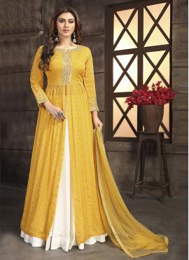 Off White and Yellow Sangeet Readymade Lehenga Choli