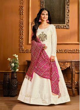 Off White Color Floor Length Anarkali Suit