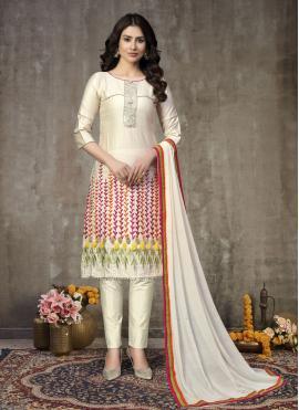 Off White Cotton Embroidered Churidar Designer Suit