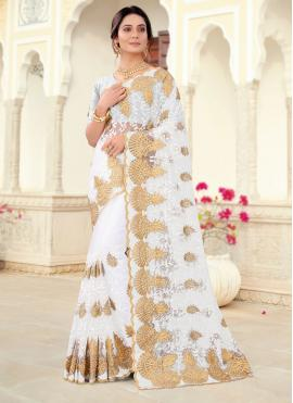 Off White Embroidered Ceremonial Classic Saree
