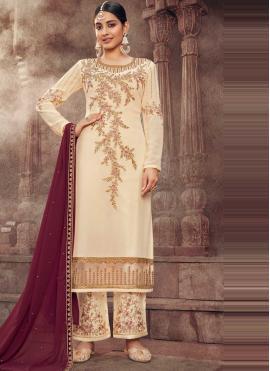 Off White Embroidered Festival Designer Pakistani Salwar Suit