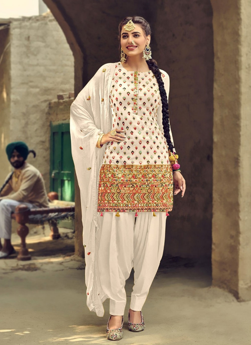 Off White Embroidered Festival Patiala Salwar Suit