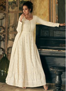 Off White Festival Floor Length Anarkali Suit