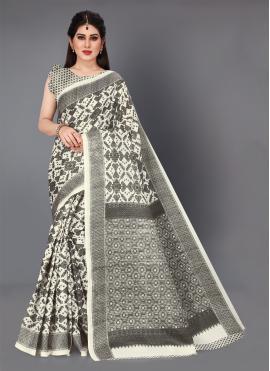 Off White Khadi Silk Trendy Saree
