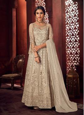 Off White Mehndi Net Floor Length Anarkali Suit