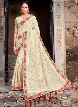 Off White Wedding Traditional Saree