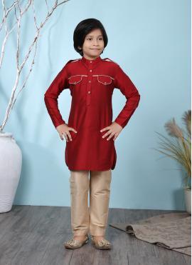 Opulent Buttons Work Cotton Silk Red Kurta Pyjama