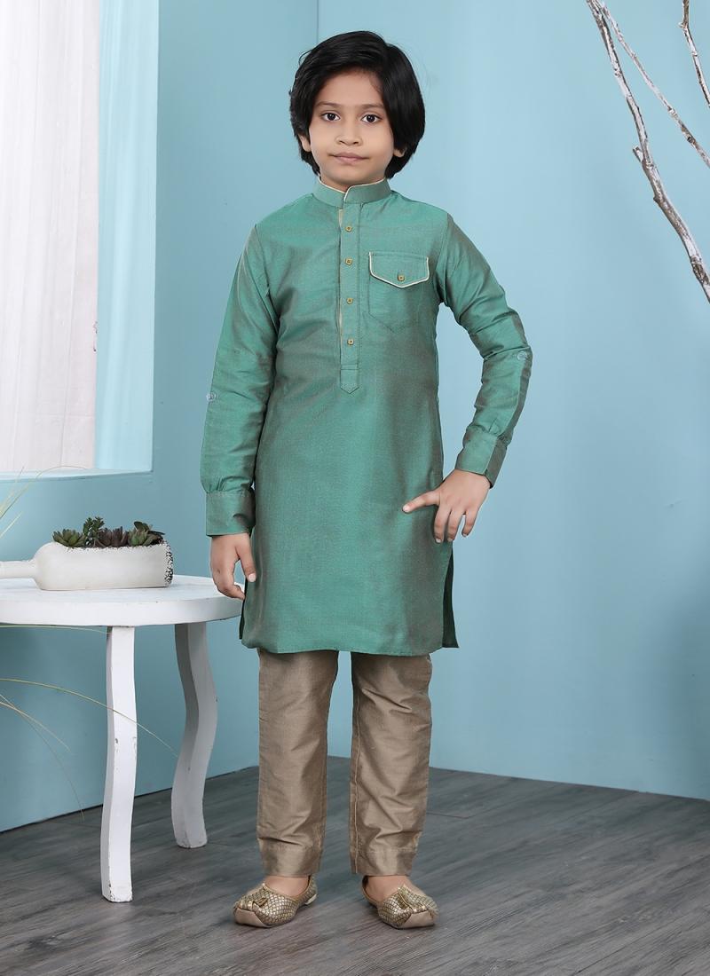 Opulent Cotton Silk Plain Work Kurta Pyjama