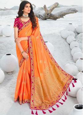 Opulent Embroidered Silk Orange Designer Saree