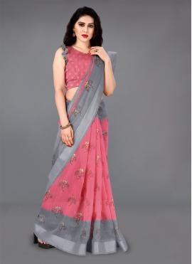 Opulent Foil print Cotton Pink Casual Saree