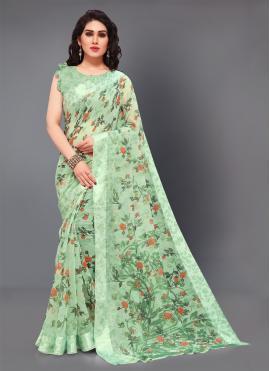 Opulent Green Cotton Trendy Saree