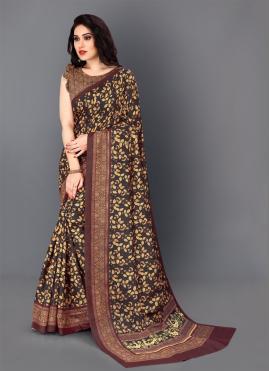 Opulent Multi Colour Digital Print Silk Traditional Saree