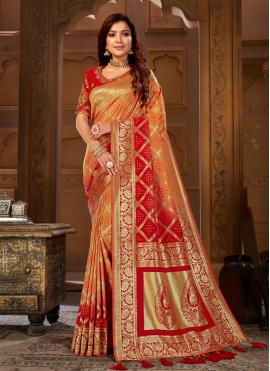 Orange and Red Thread Jacquard Silk Designer Traditional Saree