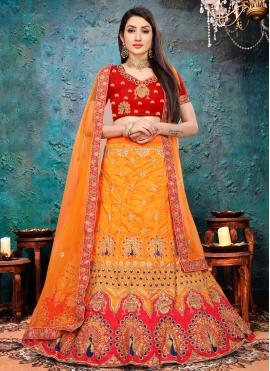 Orange Art Silk Mehndi Lehenga Choli