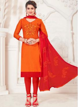 Orange Casual Churidar Suit