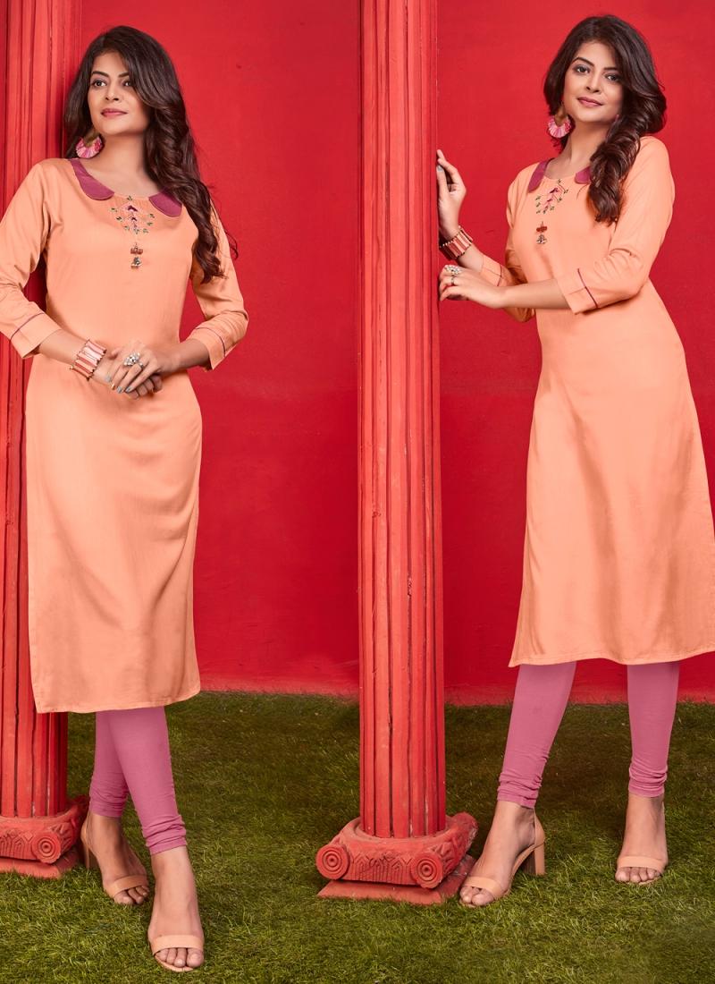 Orange Color Party Wear Kurti