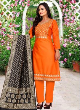 Orange Embroidered Cotton Trendy Salwar Suit