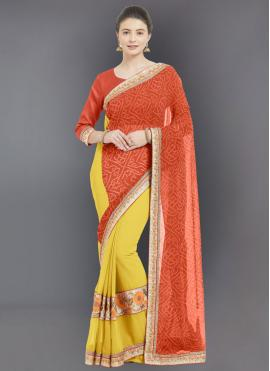 Orange Embroidered Half N Half  Saree