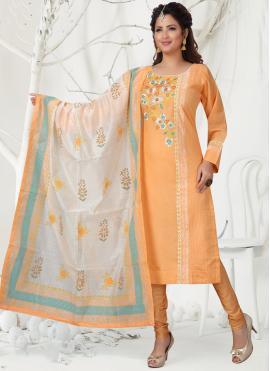 Orange Embroidered Party Churidar Designer Suit