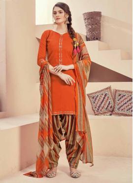 Orange Fancy Festival Patiala Salwar Kameez