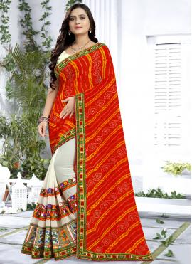 Orange Georgette Embroidered Classic Saree