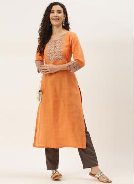 Orange Print Party Wear Kurti