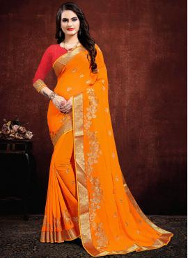 Orange Resham Party Designer Saree